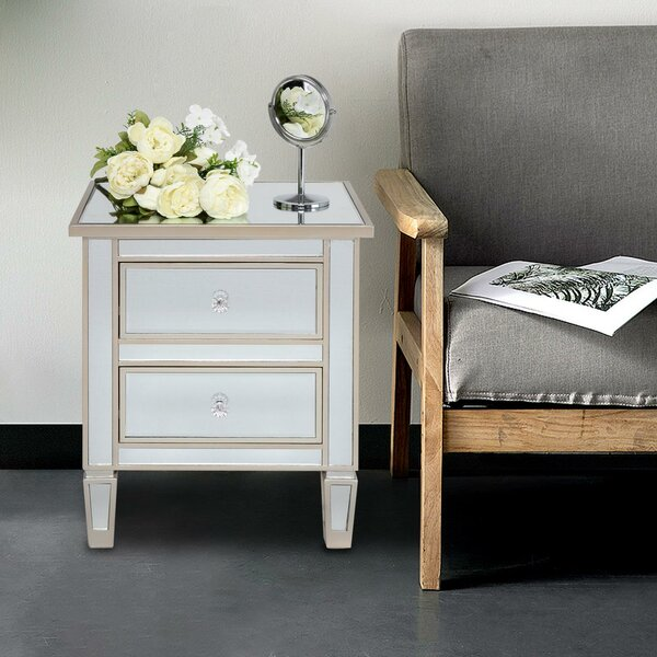 Mancilla 2 Drawer Nightstand in White/Brown by House of Hampton House of Hampton