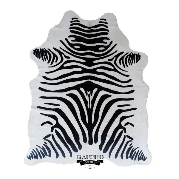 Eastin Jorden Stenciled Zebra Black/White Cowhide Area Rug by Isabelline