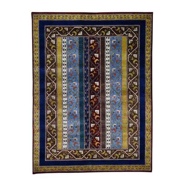 One-of-a-Kind Pickney Shawl Oriental Hand-Knotted Yellow/Blue Area Rug by World Menagerie