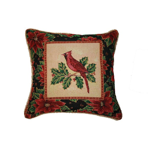 Christmas Cardinal Design Throw Pillow by Violet Linen