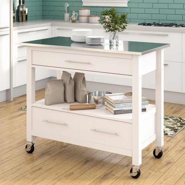Monongah Rectangular Kitchen Cart with Stainless Steel Top by Latitude Run