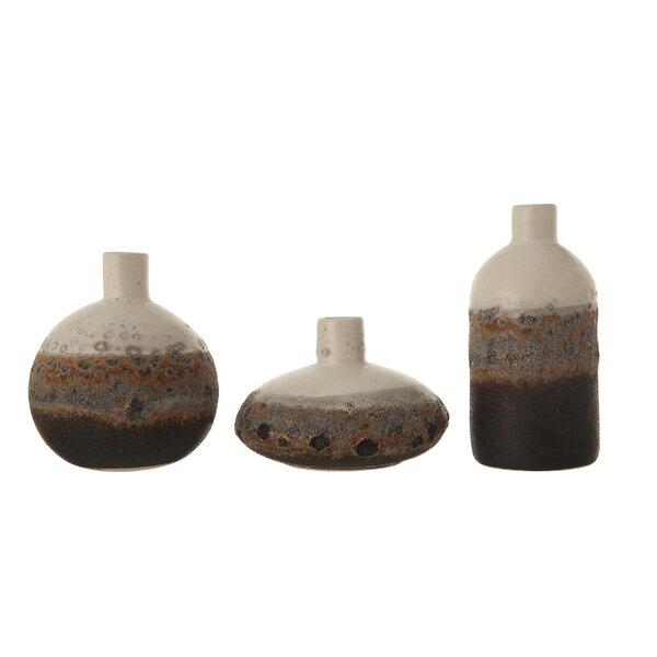 Hallie Textured Stoneware 3 Piece Table Vase Set by Union Rustic