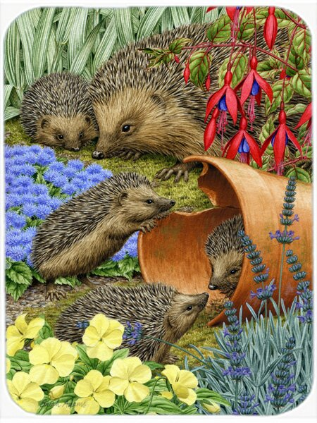 Hedgehogs in the Flower Pot Glass Cutting Board by Caroline's Treasures