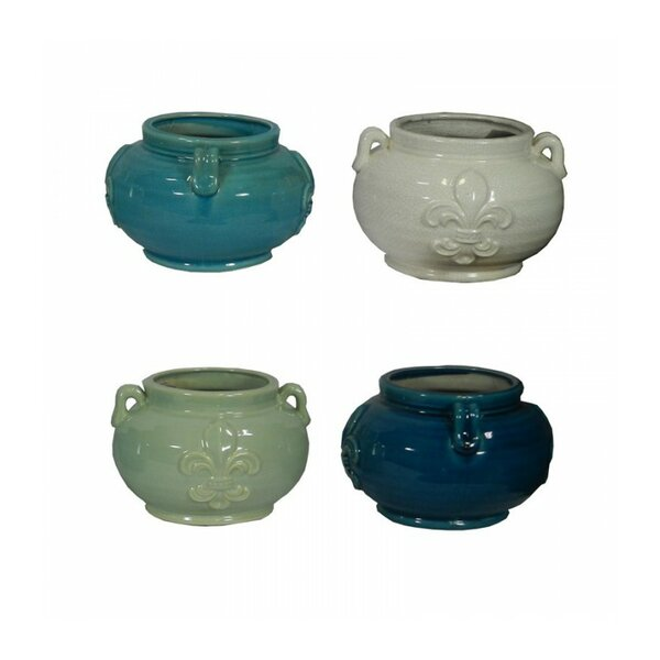 Round Ceramic Pot Planter (Set of 16) by ESSENTIAL DÉCOR & BEYOND, INC