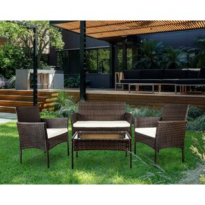 Lia 4 Piece Rattan Sofa Seating Group with Cushions