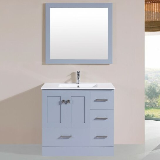 Landrum Modern 35 Single Bathroom Vanity Set with Mirror by Latitude Run