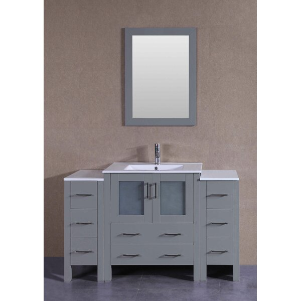 Lexington 54 Single Bathroom Vanity Set with Mirror by Bosconi