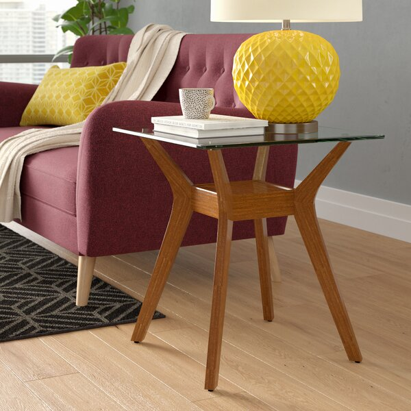 Review Gomes Glass Top End Table With Storage