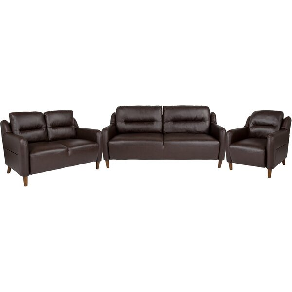 Velazquez Upholstered Bustle Back 3 Piece Living Room Set By Ebern Designs