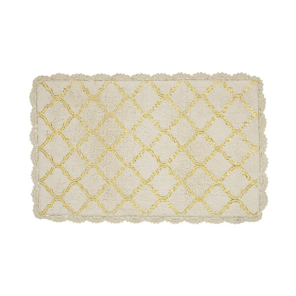 Cross Hatch Foil 100% Cotton Geometric Bath Rug