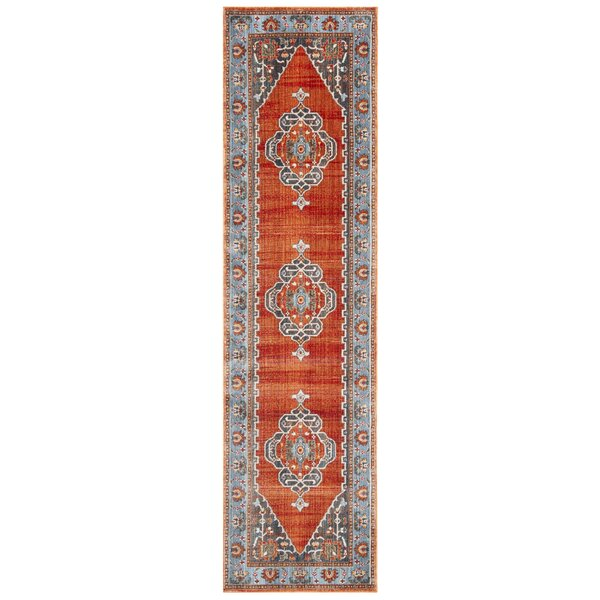 Preble Vintage Persian Cotton Rust/Blue Area Rug by World Menagerie