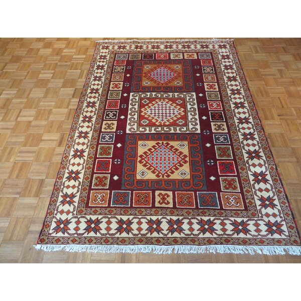 One-of-a-Kind Padula Tribal Hand-Knotted Burgundy Area Rug by Bloomsbury Market