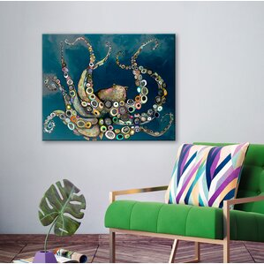 U0027Octopus In The Navy Blue Seau0027 Framed On Canvas. U0027 Part 65