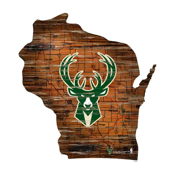 NBA Bucks Distressed State Wall Décor by Fan Creations