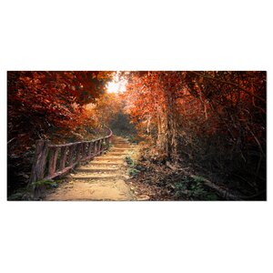 'Stairway Through Red Fall Forest' Photographic Print on Wrapped Canvas by Design Art