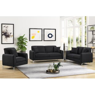 Modern 3 Piece Living Room Set by Ivy Bronx