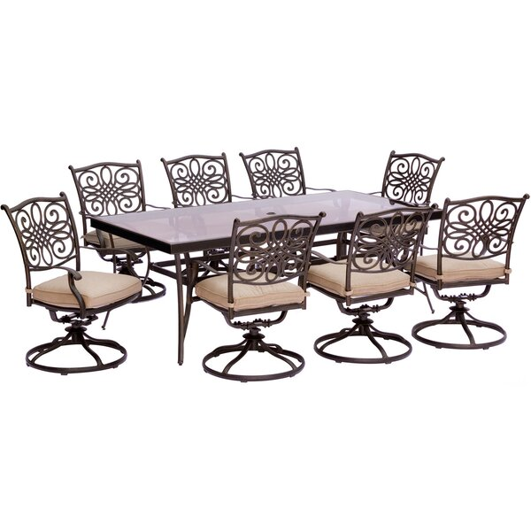 Lauritsen 9 Piece Bold & Eclectic Modern Dining Set with Cushions by Three Posts