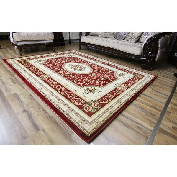 Super Belkis Red/Cream Area Rug by Beyan Signature