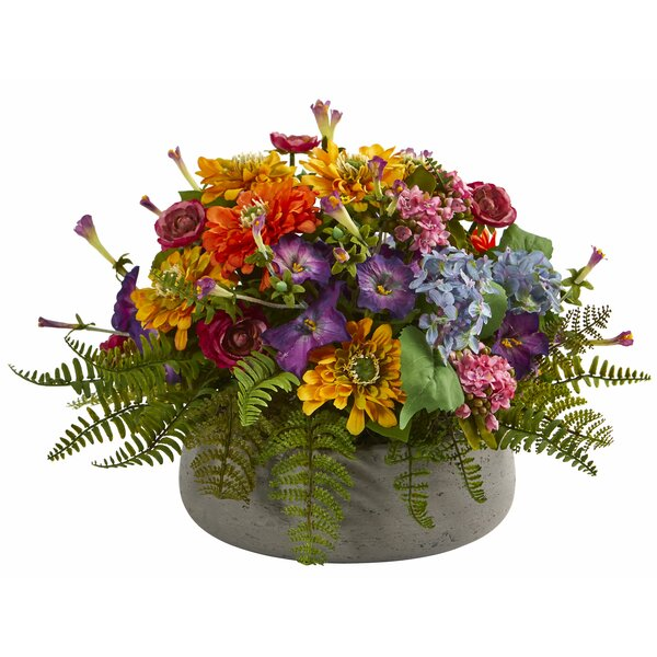 Artificial Mixed Centerpiece in Stone Planter by Alcott Hill