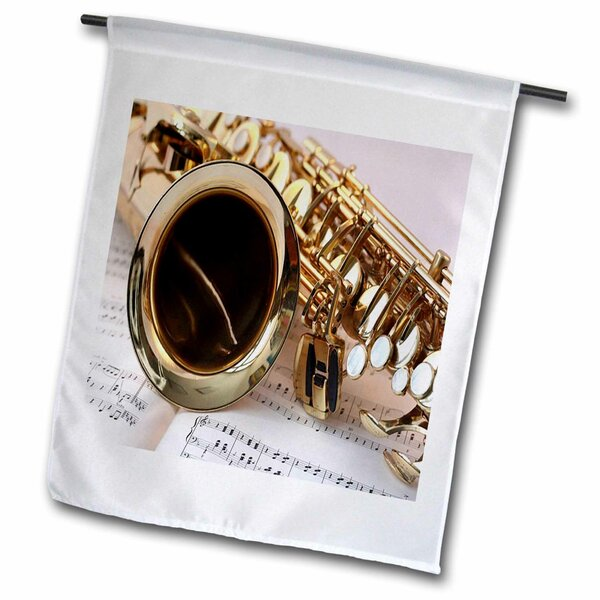 Print of Close up of Saxophone on Sheet Music Polyester Garden Flag by 3dRose
