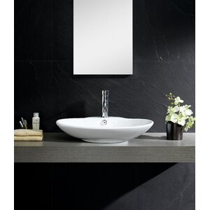 Modern Vitreous Low oval Vessel Bathroom Sink with Overflow