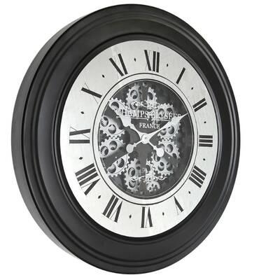 40cm  Purple pink Face Metal Skeleton Wall Clock Roman Numerals Big Large Uk