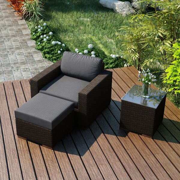 Hodge 3 Piece Teak Conversation Set with Sunbrella Cushions by Rosecliff Heights