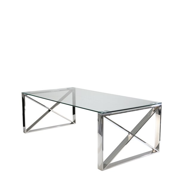 Stainless Steel And Glass Coffee Table By Mercer41