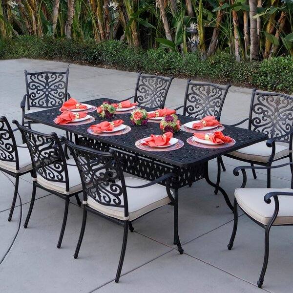 Archway 9 Piece Metal Dining Set with Cushions by Astoria Grand