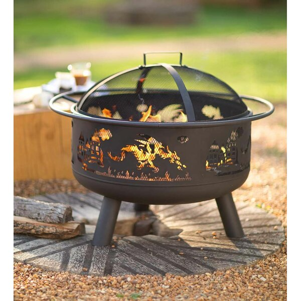 Dragon-Themed Steel Fire Pit by Wind & Weather