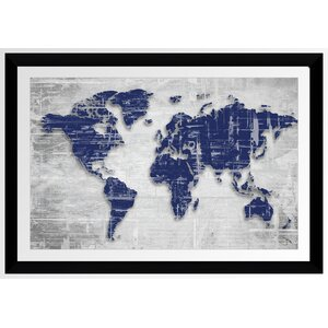 'Moody Blue World Copy' Framed Graphic Art Print by Picture Perfect International