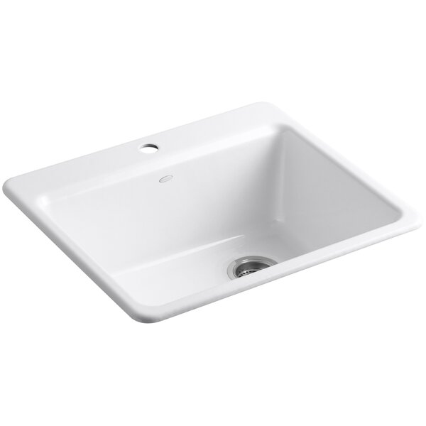 Riverby 25 L x 22 W x 9-5 8 Bar Kitchen Sink with Basin Rack by Kohler