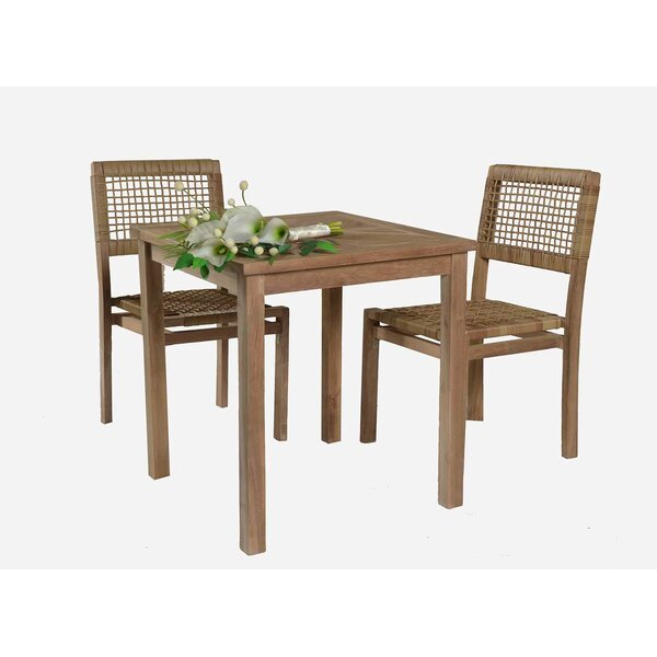 Ariana 3 Piece Teak Bistro Set by Mistana