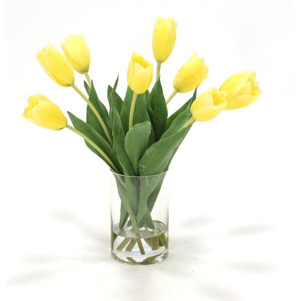 Waterlook Dutch Tulips in Glass Cylinder Vase by Distinctive Designs