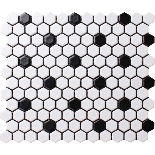 Value Series Dot 1'' x 1'' Porcelain Mosaic Tile in Matte White/Black by WS Tiles