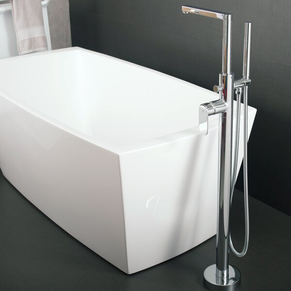 Hot Single Handle Floor Mounted Freestanding Tub Filler Trim with Hand Shower by DAX DAX