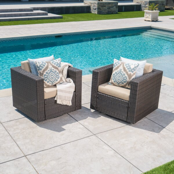Furst Outdoor Wicker Swivel Club Chair with Cushions (Set of 2) by Wade Logan