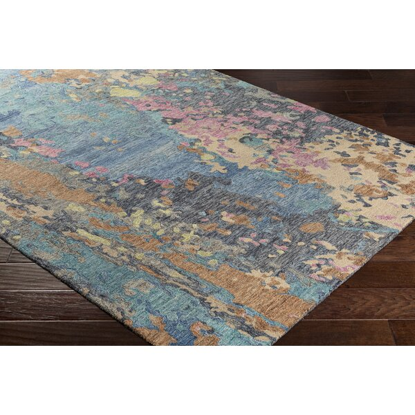 Randall Abstract Hand-Hooked Wool Teal/Navy Area Rug by Bungalow Rose