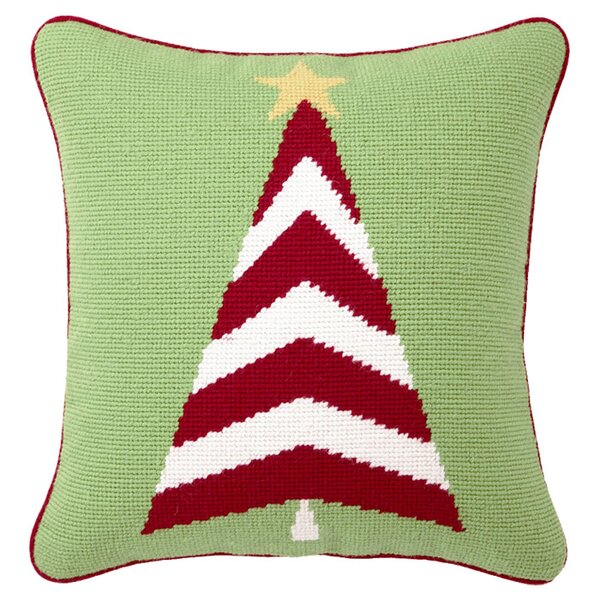 Trim A Tree Needlepoint Throw Pillow by Peking Handicraft