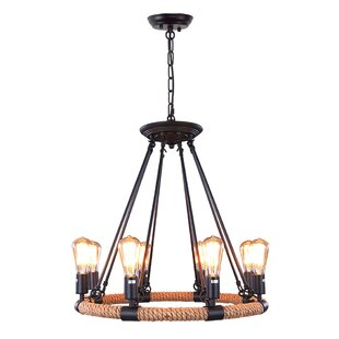 Reviews 8-Light Wagon Wheel Chandelier By LNC Home