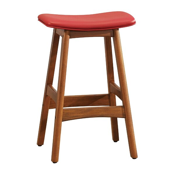 Gafford Contemporary Leather Upholstered Wooden Bar Stool By Millwood Pines by Millwood Pines Herry Up