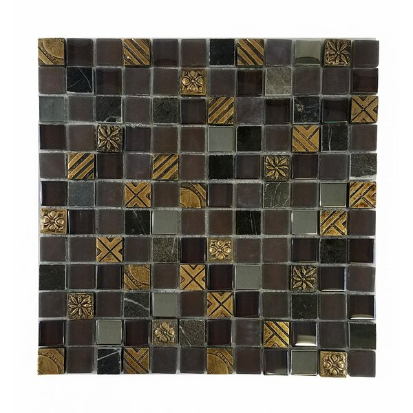 Monarchy 1 x 1 Glass and Stone Mosaic Tile in Antigua by Abolos