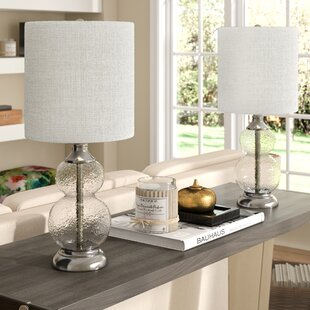 Best Reviews Knouse Glass 21 Table Lamp (Set of 2) By Alcott Hill