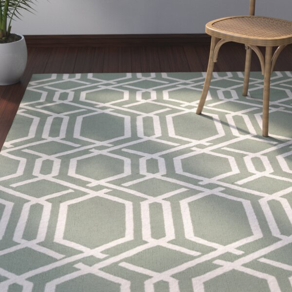 Wallingford Ariatta Sea Mist Hand-Woven Green/Beige Indoor/Outdoor Area Rug by Bay Isle Home