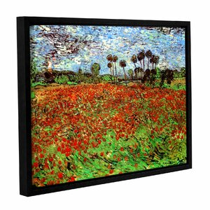 Poppy Field by Vincent Van Gogh Framed Painting Print on Wrapped Canvas by ArtWall
