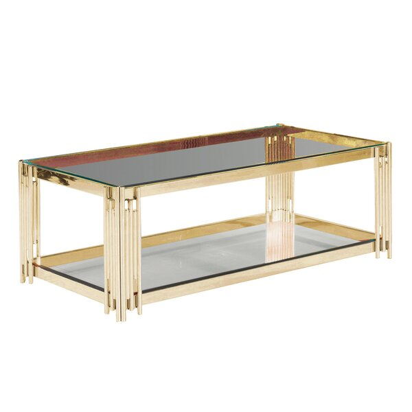 Clarkson 2-Tier Glass Top Coffee Table by Orren Ellis Orren Ellis