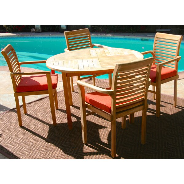 Teak 5 Piece Sunbrella Dining Set with Cushions by Trijaya Living