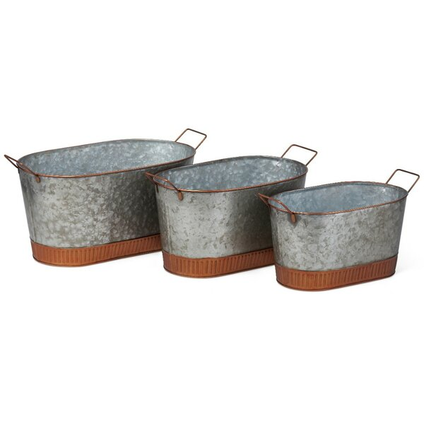 Irresistible 3-Piece Iron Pot Planter Set by Benzara