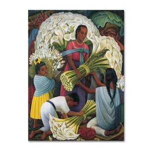 'The Flower Vendor' by Diego Rivera Print on Wrapped Canvas by Trademark Fine Art