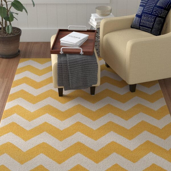 Ayler Yellow/Ivory Chevron Area Rug by Winston Porter